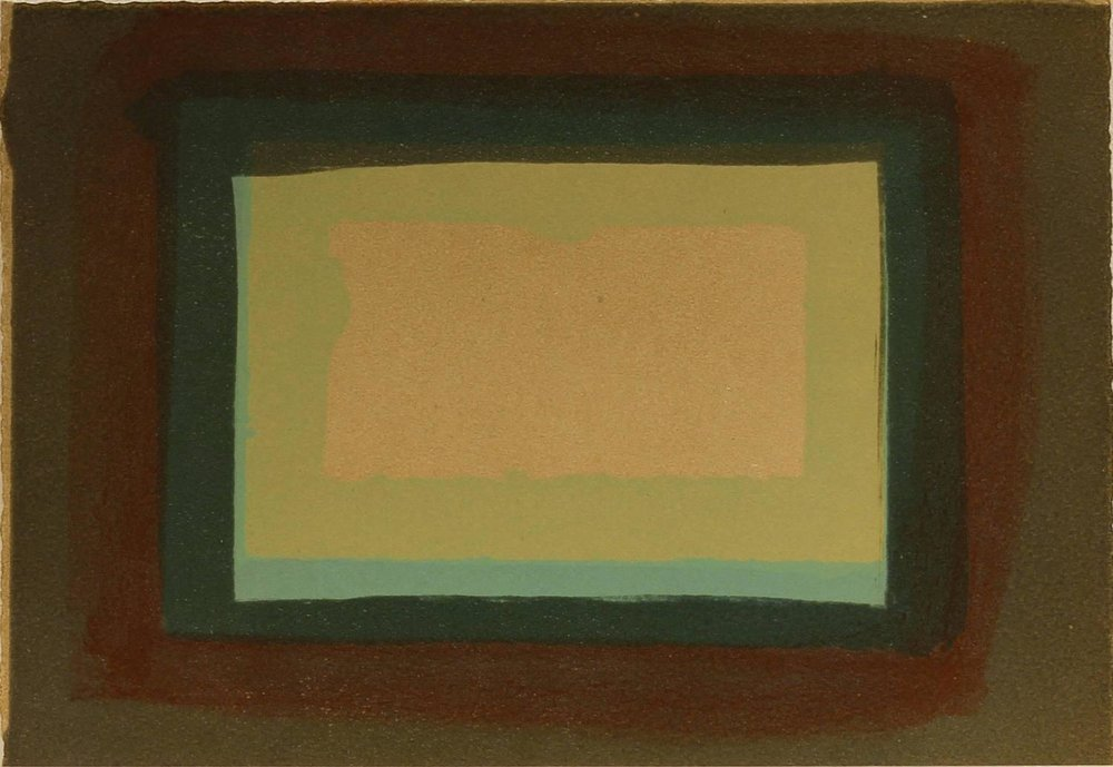 Artist: Howard Hodgkin  Title: Window from More Indian Views, 1976  Edition of 60  Medium: Lithograph on Paper  Dimensions: 23 cm (h) x 30.5 cm (w)