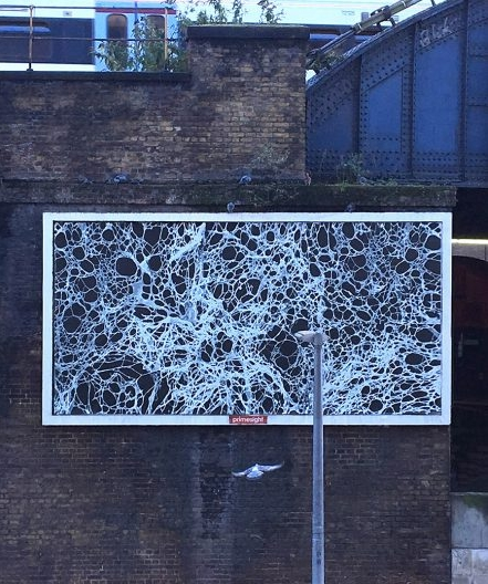 ADAM BALL INSTALLS MONUMENTAL PUBLIC ARTWORK 'FROM HERE AND THERE' ON BILLBOARD IN LONDON BRIDGE IN COLLABORATION WITH ANNIN ARTS.  November 2018