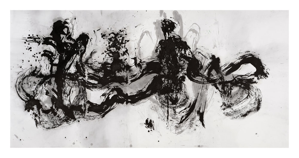 Traversing Countries, Ink on Paper, 123 x 245cm, 2017