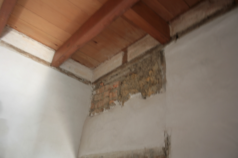 Restored wattle and daub inside