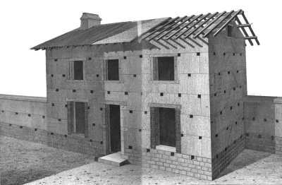 Extract from Rondelets book, showing a rammed earth house.  Source