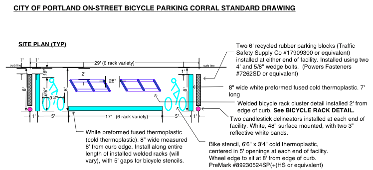 The design of the corrals and clusters are inspired from the City Of Portland bike racks plans.