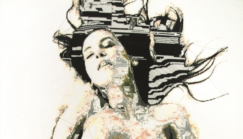 Image: Alicia Ross, Motherboard_5 (The Siren) detail, cross-stitch on cotton, 2008 / ©Alicia Ross