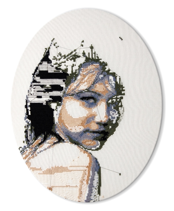 Image: Alicia Ross, Phrenology Study of Miley Cyrus, cross-stitch on cotton, 2010 /  ©Alicia Ross