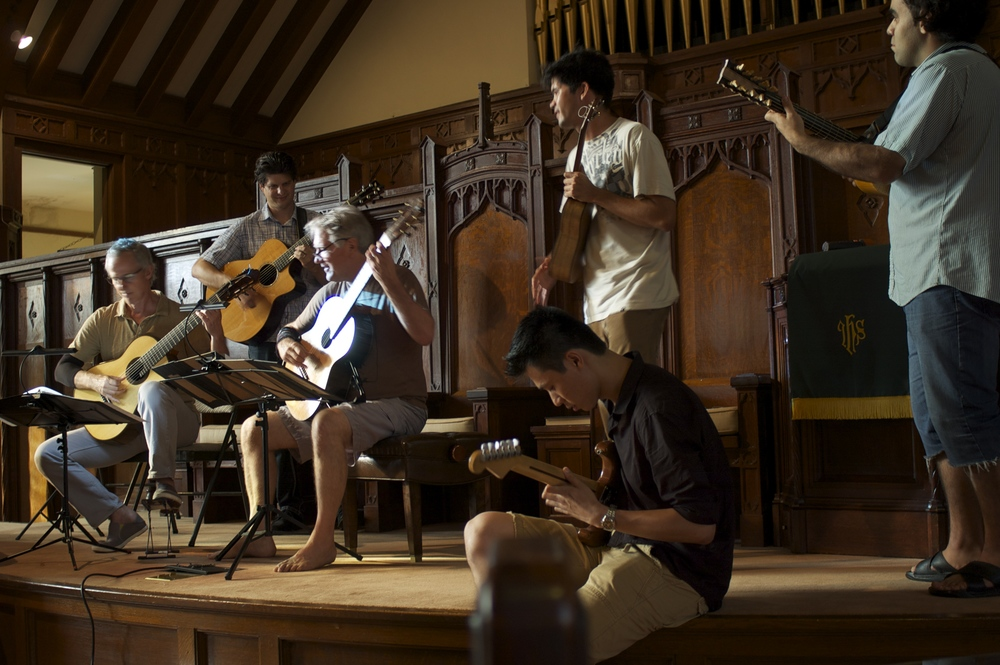John Dearman, Jeff Peterson, Ben Verdery, Ray Zhou, Ian O'Sullivan, and Arash Noori rehearsing at Makawao Union Church (2014)
