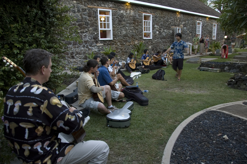 Students warming up outside Keawala'i Church in Makena (2008)