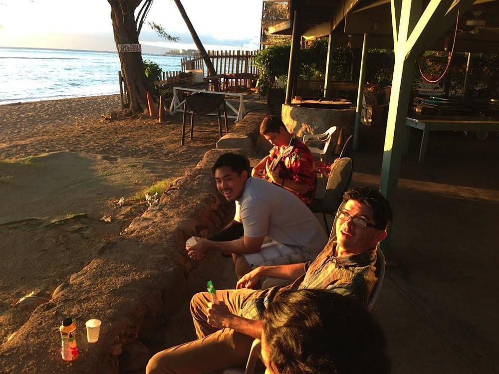 Ian O'Sullivan, Aaron Cardenas, and Ben Werdegar at Lahaina Jodo Mission