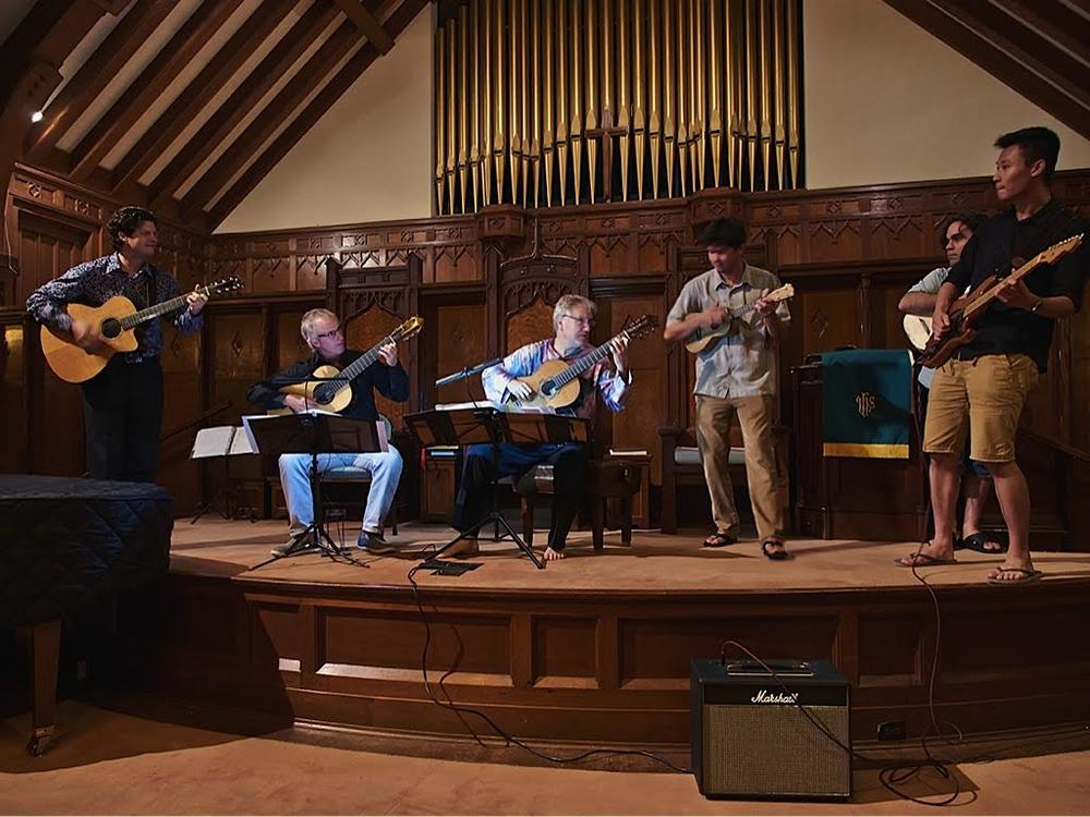 Jeff Peterson, John Dearman, Ben Verdery, Ian O'Sullivan, Arash Noori, and Ray Zhou performing at Makawao Union Church (2014)