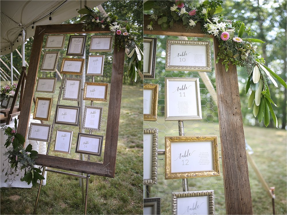 Rustic Wedding Decor Seating Chart Flat Top Lake West Virginia Wedding Photography
