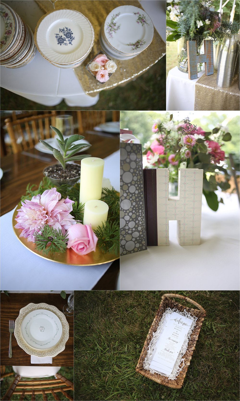 Rustic Wedding Decor Mix and Match China Glitter and Sparkles Flat Top Lake West Virginia Wedding Photography