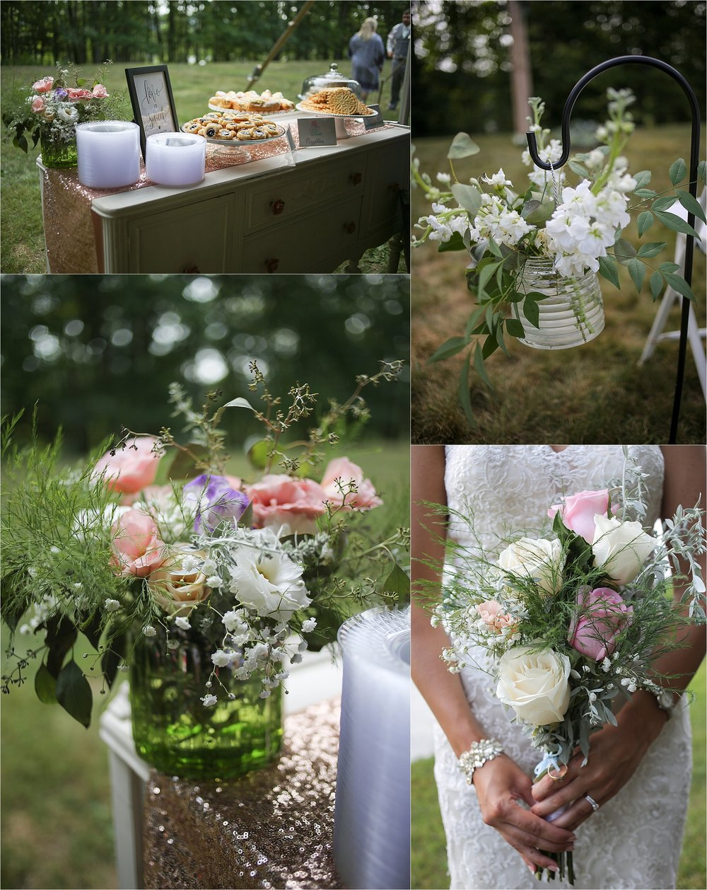 Pink and White Rustic Wedding Decor Flat Top Lake West Virginia Wedding Photography