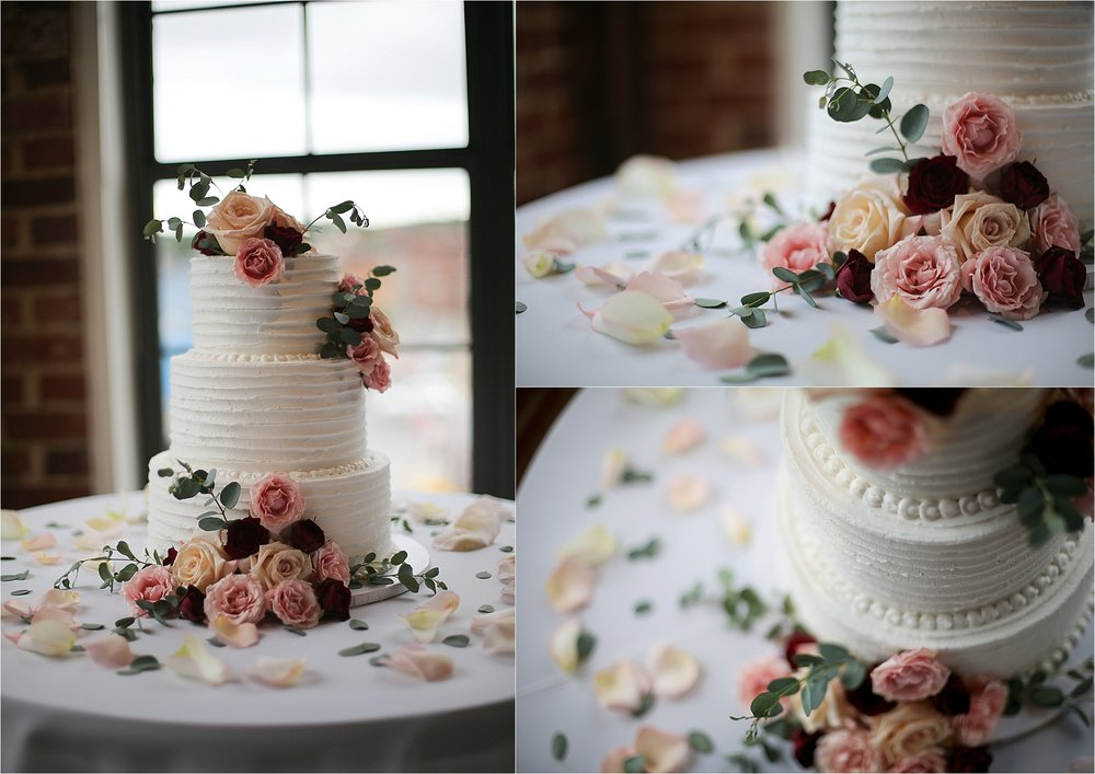 White Wedding Cake with Pink and Peach Flowers The Gallery in Downtown Johnson City, Tennessee Wedding Photography