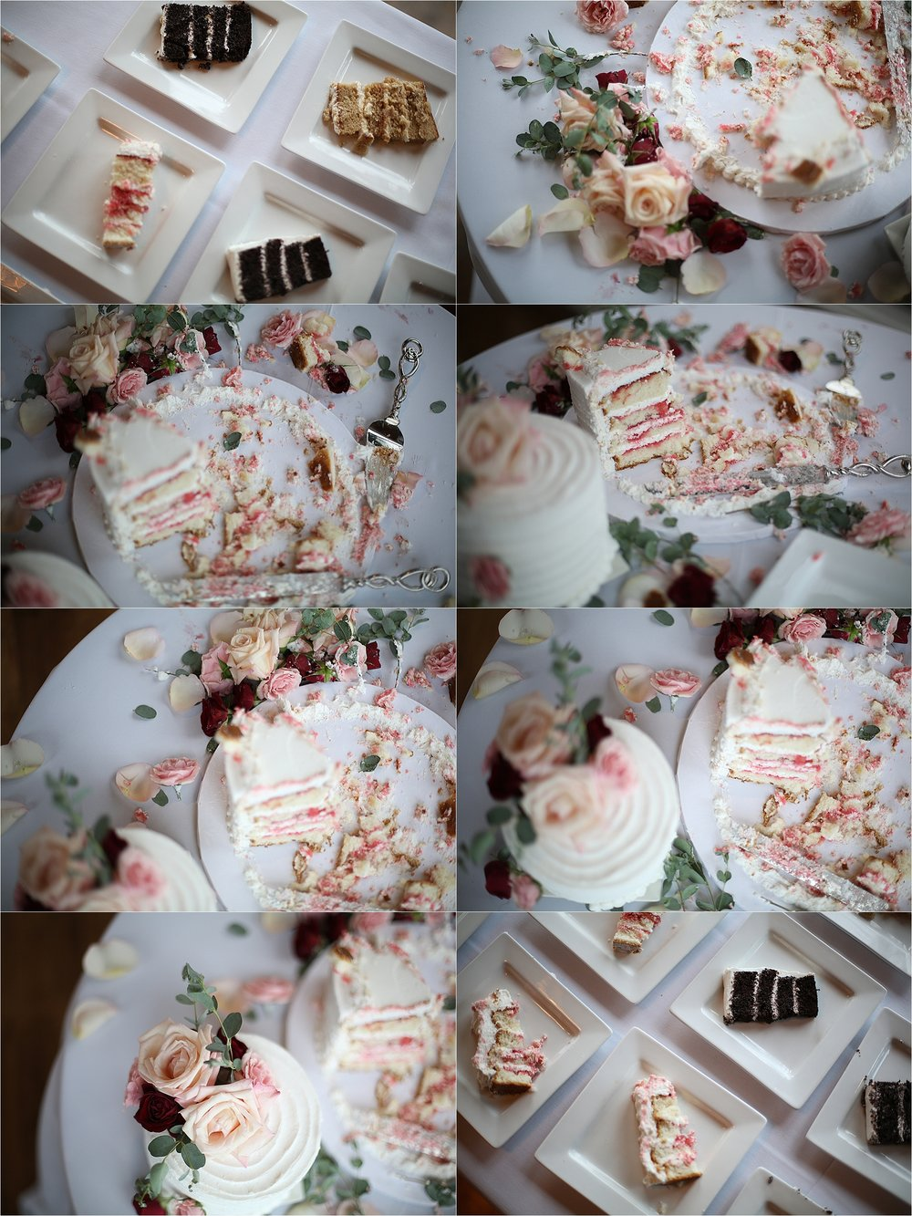 Messy Wedding Cake Montage The Gallery in Downtown Johnson City, Tennessee Wedding Photography