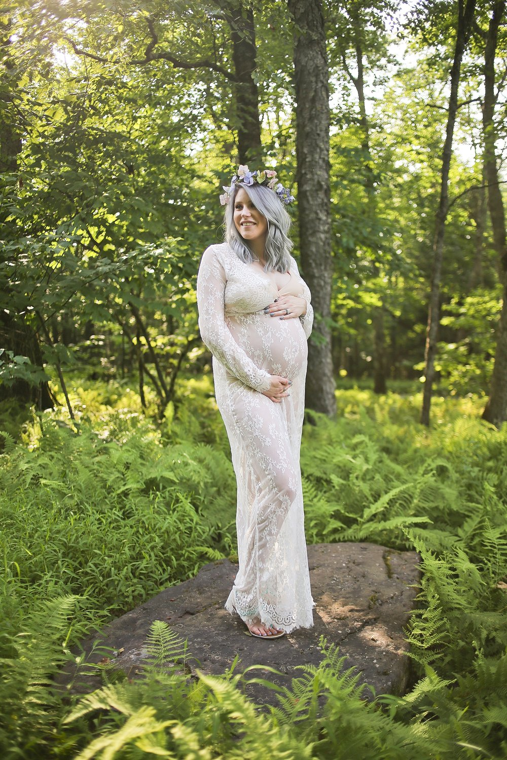 Fern Filled Forest Maternity Portraits - Lace Maxi Dress and Flower Crown Blacksburg, Virginia Maternity Portrait Photographer