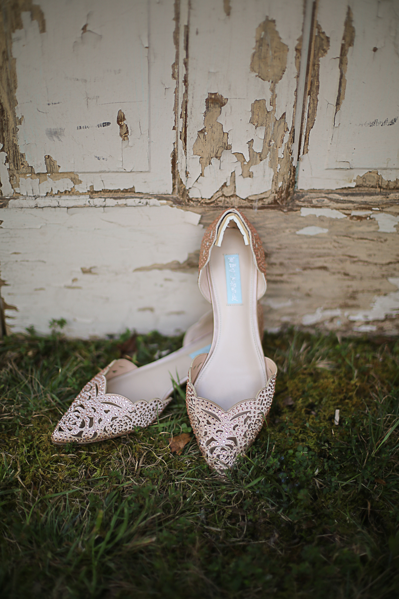 Pink Rhinestone Wedding Shoes, Brittany + Michael's Camp Themed Wedding | Virginia Wedding Photographers
