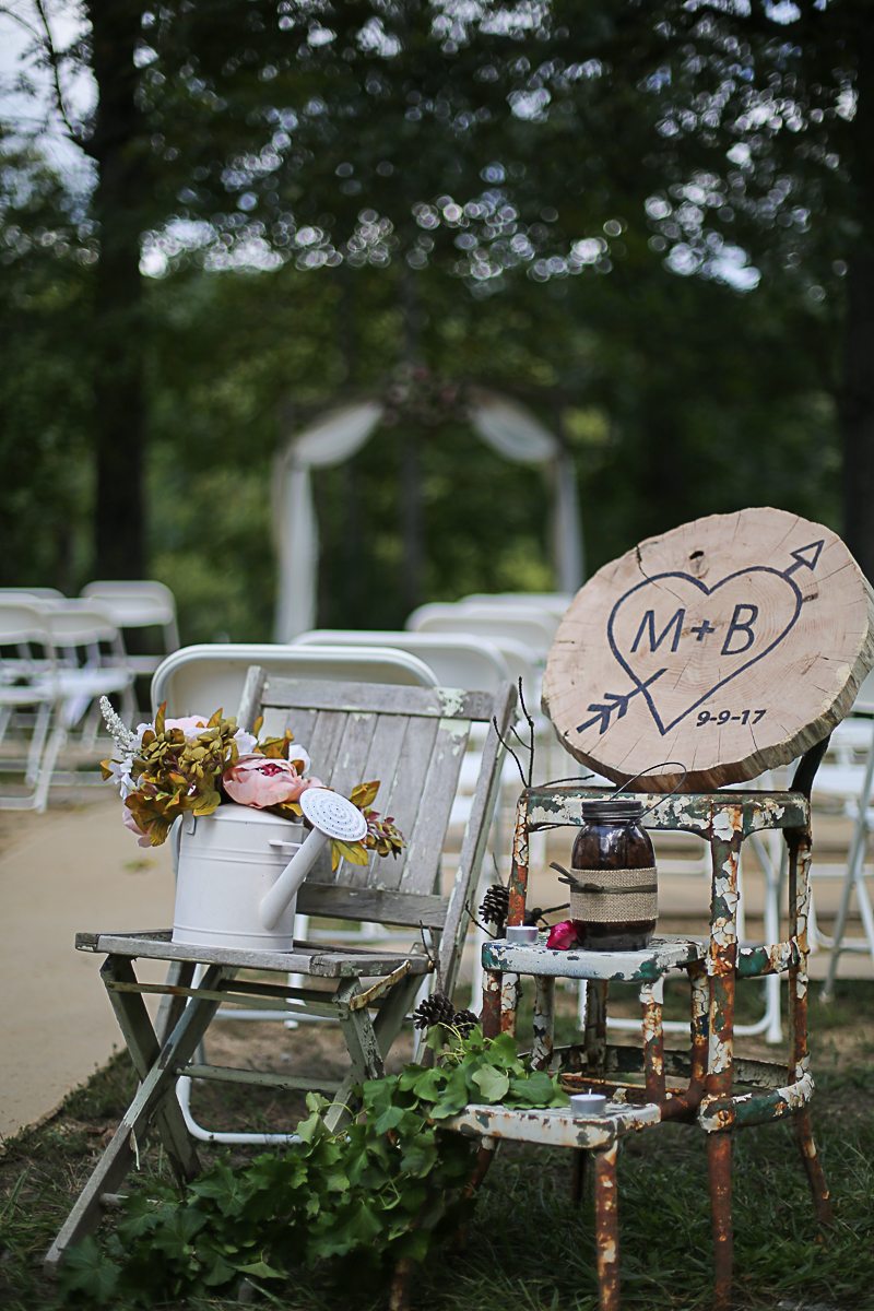 Rustic Ceremony Wedding Decor, Brittany + Michael's Camp Themed Wedding | Virginia Wedding Photographers