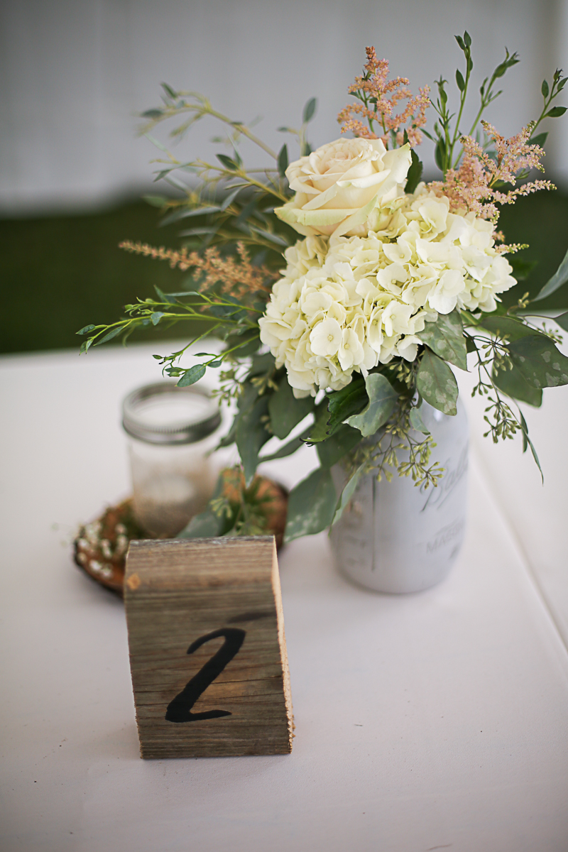 Rustic Wedding Centerpiece, Brittany + Michael's Camp Themed Wedding | Virginia Wedding Photographers