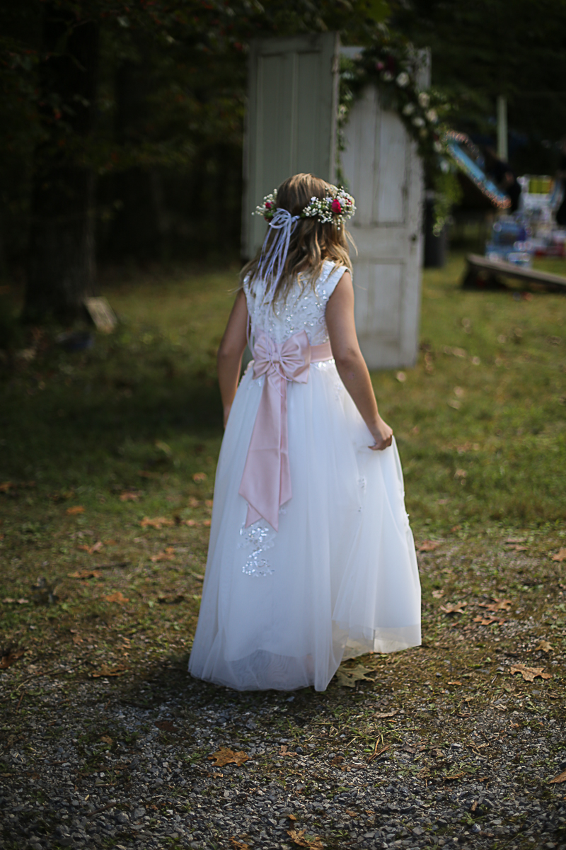 Flower Girl, Brittany + Michael's Camp Themed Wedding | Virginia Wedding Photographers