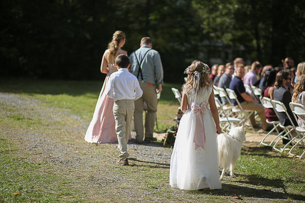 Flower Girl, White Pomeranian Wedding Dog Bridal Party Processional, Brittany + Michael's Camp Themed Wedding | Virginia Wedding Photographers
