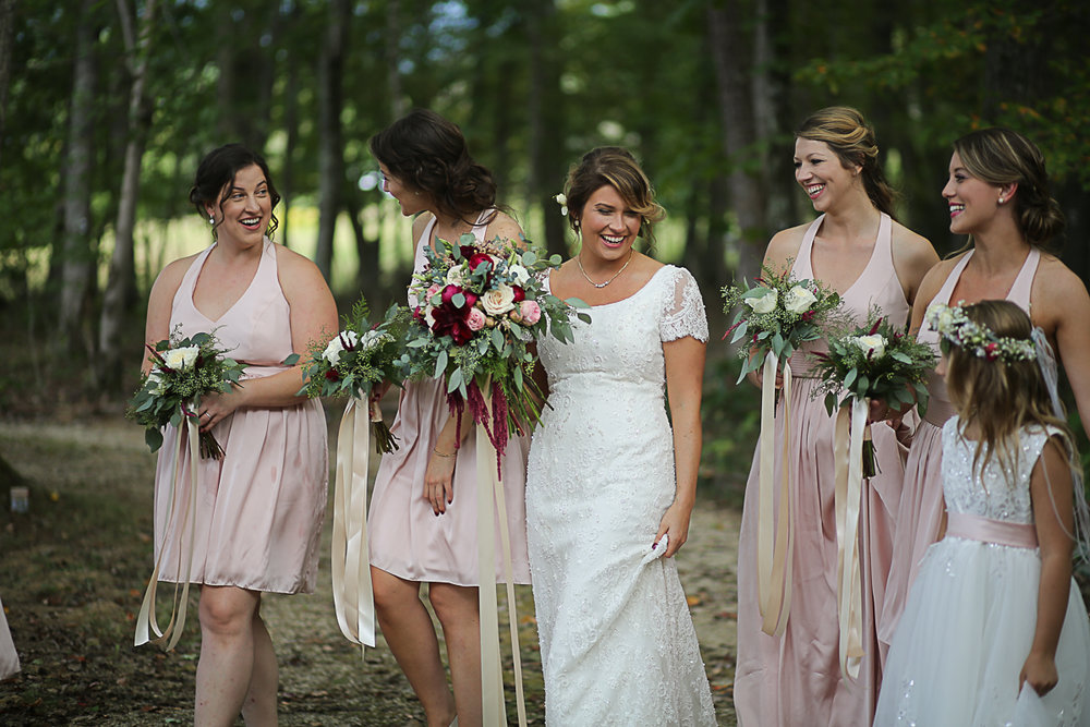 Bride and Bridesmaids Brittany + Michael's Camp Themed Wedding | Virginia Wedding Photographers