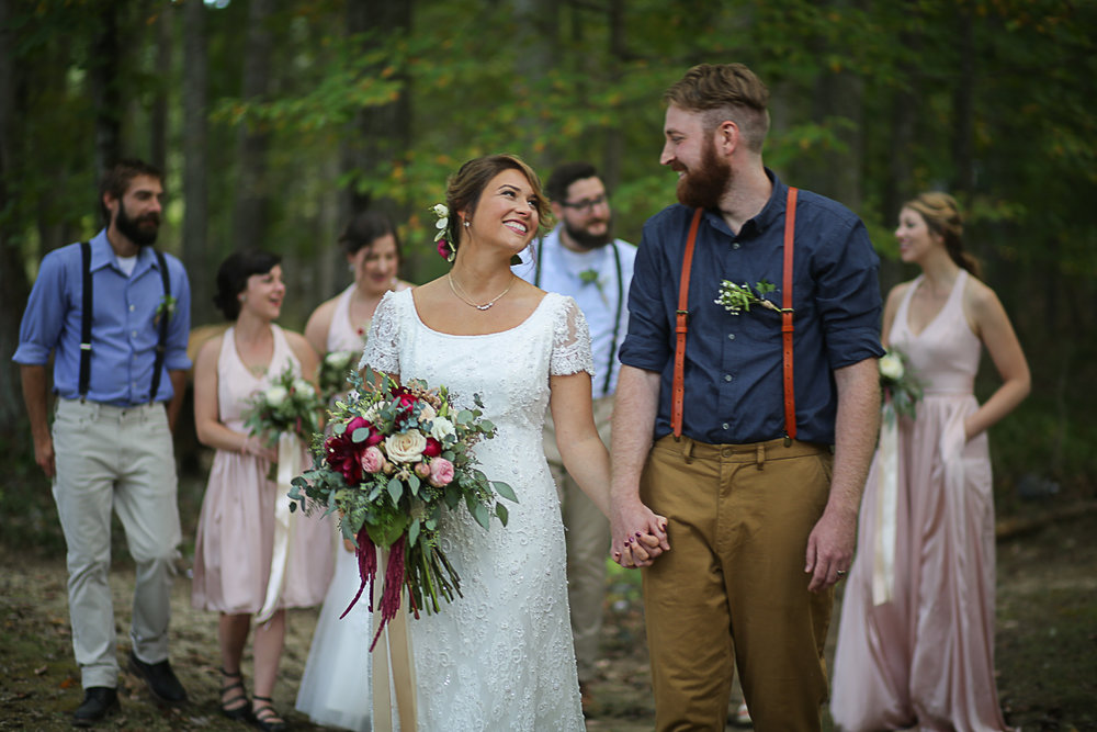 Bridal Party Brittany + Michael's Camp Themed Wedding | Virginia Wedding Photographers
