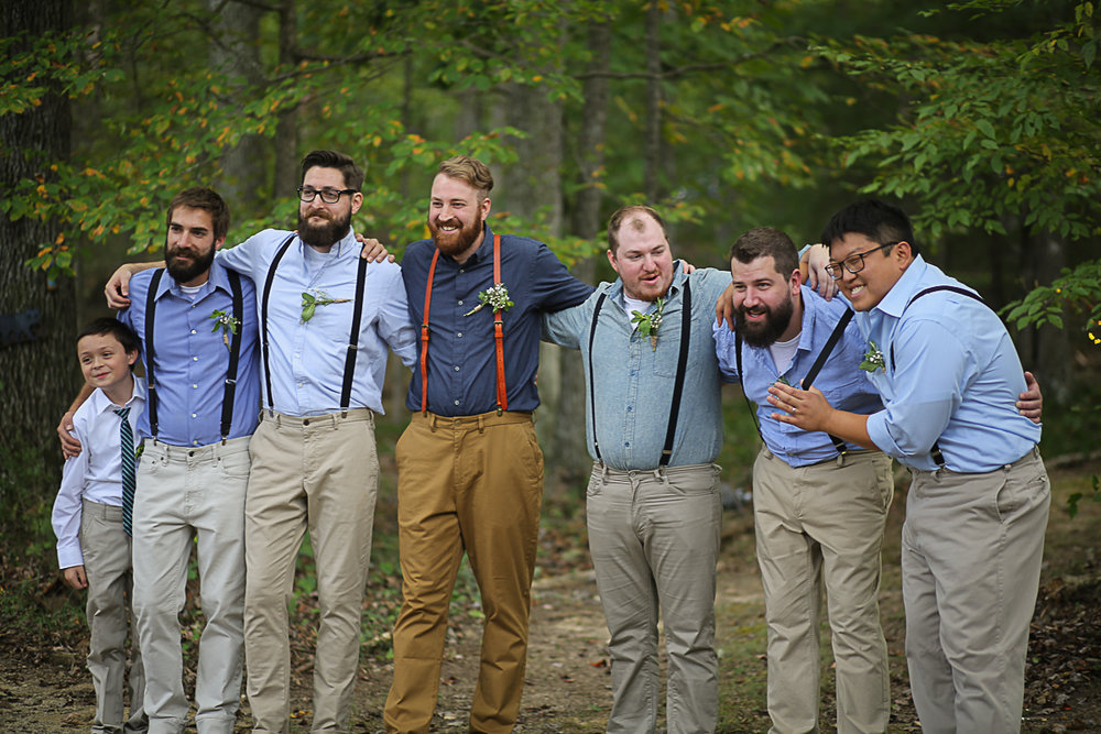 Groom and Groomsmen, Brittany + Michael's Camp Themed Wedding | Virginia Wedding Photographers