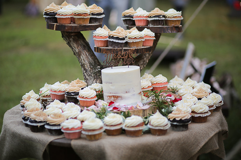 Rustic Wedding Cake and Cupcakes Brittany + Michael's Camp Themed Wedding | Virginia Wedding Photographers