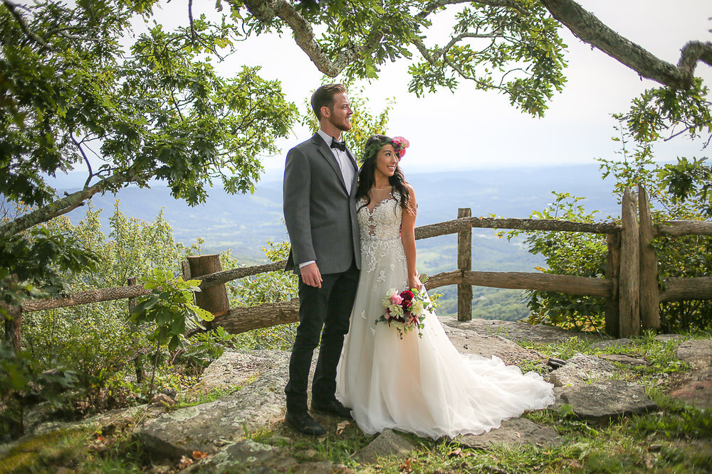 Virginia Wedding Photographer, Holly Cromer | Mountain Lake Scenic Blue Ridge Mountains Overlook with Bride and Groom
