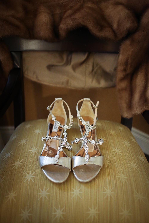 Silver Badgley Mischka Wedding Shoes - Christmas Themed Wedding at Hotel Roanoke | Roanoke, Virginia Wedding Photographer