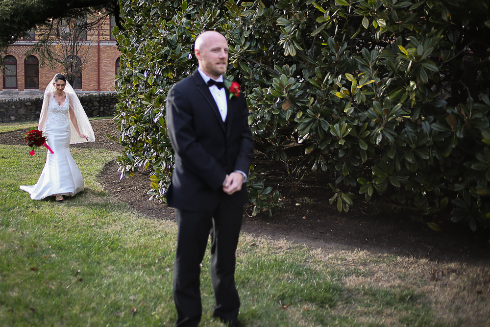 First Look - Christmas Themed Wedding at Hotel Roanoke | Roanoke, Virginia Wedding Photographer