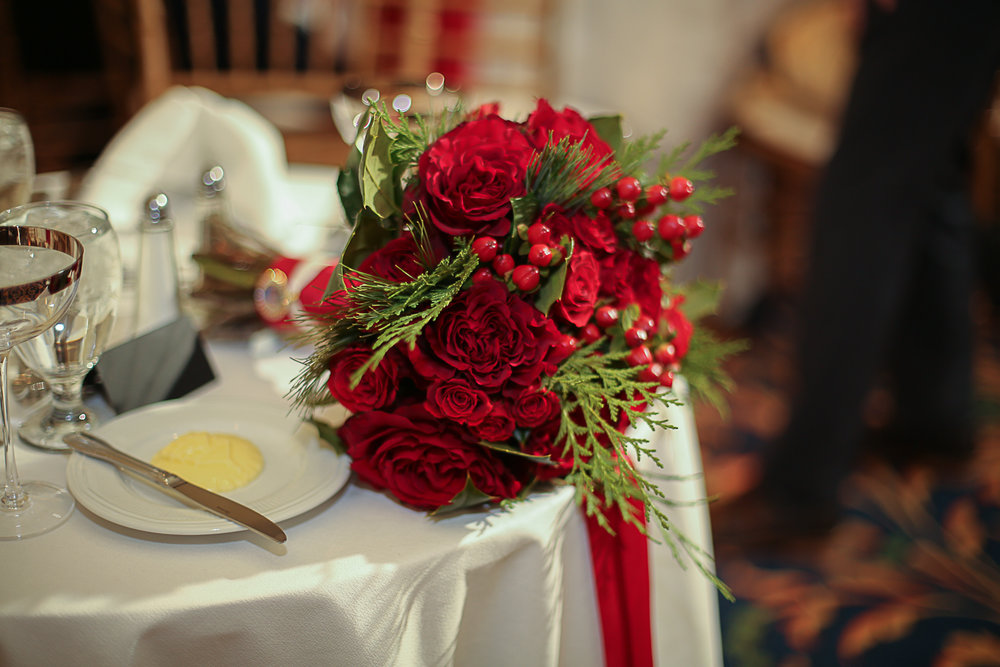 Red Bridal Bouquet - Christmas Themed Wedding at Hotel Roanoke | Roanoke, Virginia Wedding Photographer