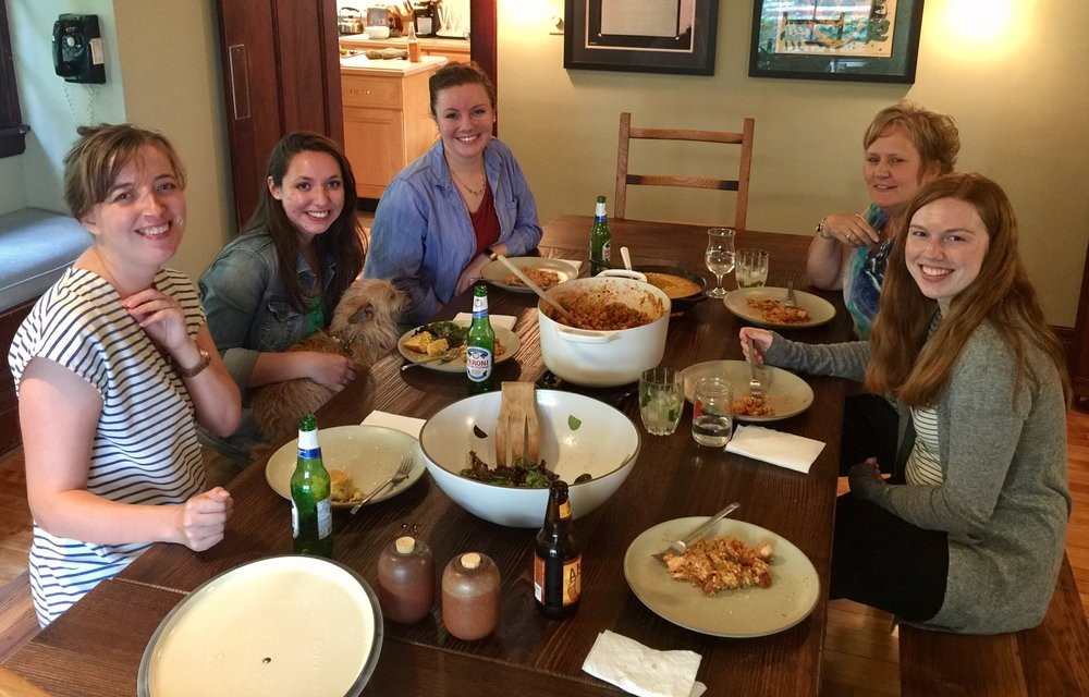 Celebrating Shannon's research this summer we had a Cajun style'd dinner prepared by Michael Chang. Left to Right: Heidi Hehnly (me), Erica Colicino (Graduate student),  PJ (Lab Security), Lindsay Rathbun (Graduate Student), Judy Freshour (Research Assistant), and Shannon Coyne (SURF Undergraduate Fellow).