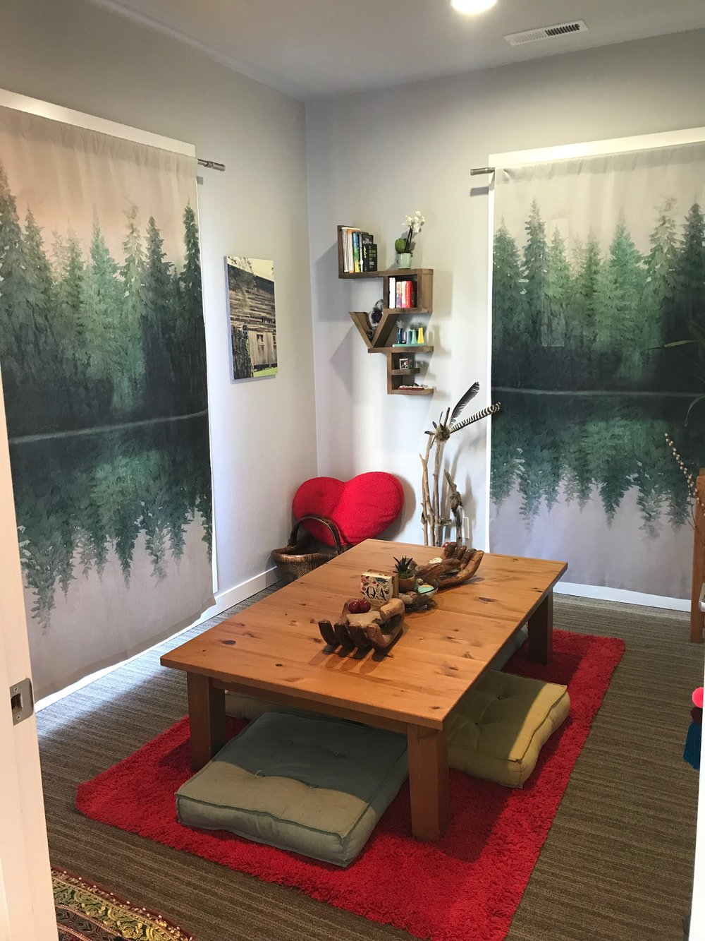 The wood-themed room is for inspired connection. There are many question tools in the space to create new conversation with someone you love. Or maybe you want to have more meaningful conversation with someone. Make yourself a cup of tea at the self-serve tea station and enjoy curious connection.