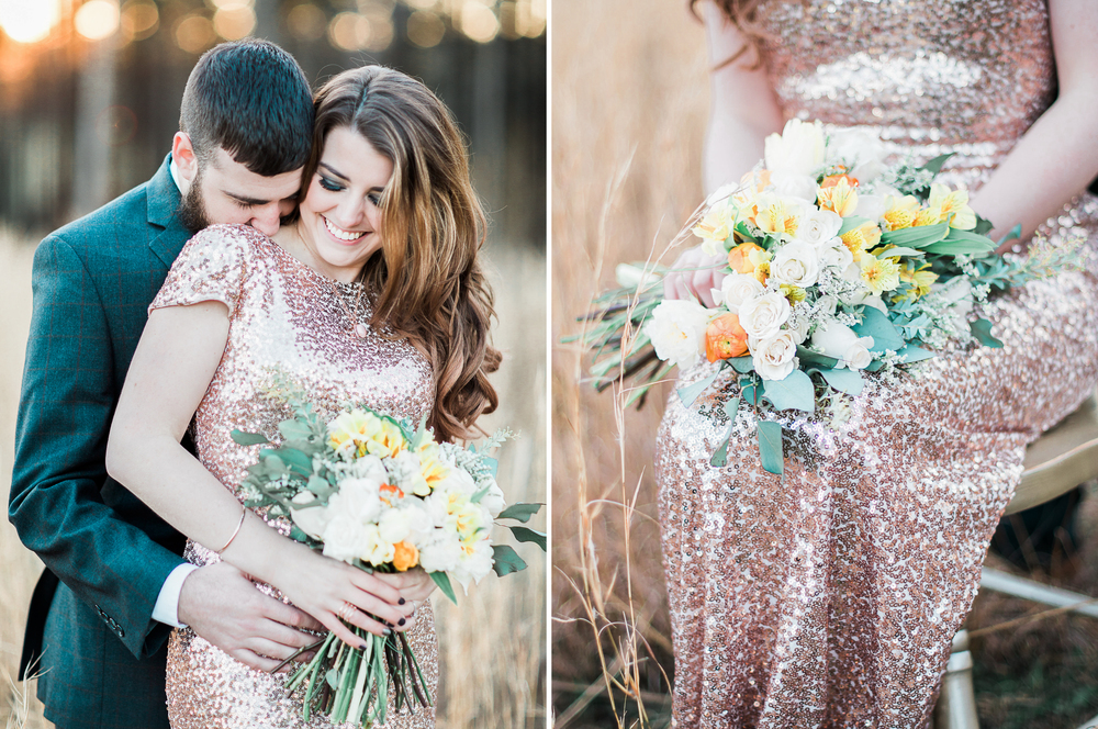 A Creative Pear (photography) // Renee Locher Hair + Makeup // Cunningham Jewelry // Hailey + Nick (Real Couple) // Sarah Bush Designs