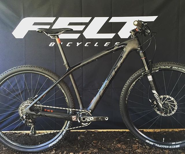As seen at #seaotterclassic : the @feltbicycles nine #frd - a super stealthy race rocket. #hardtail #racebike #xc