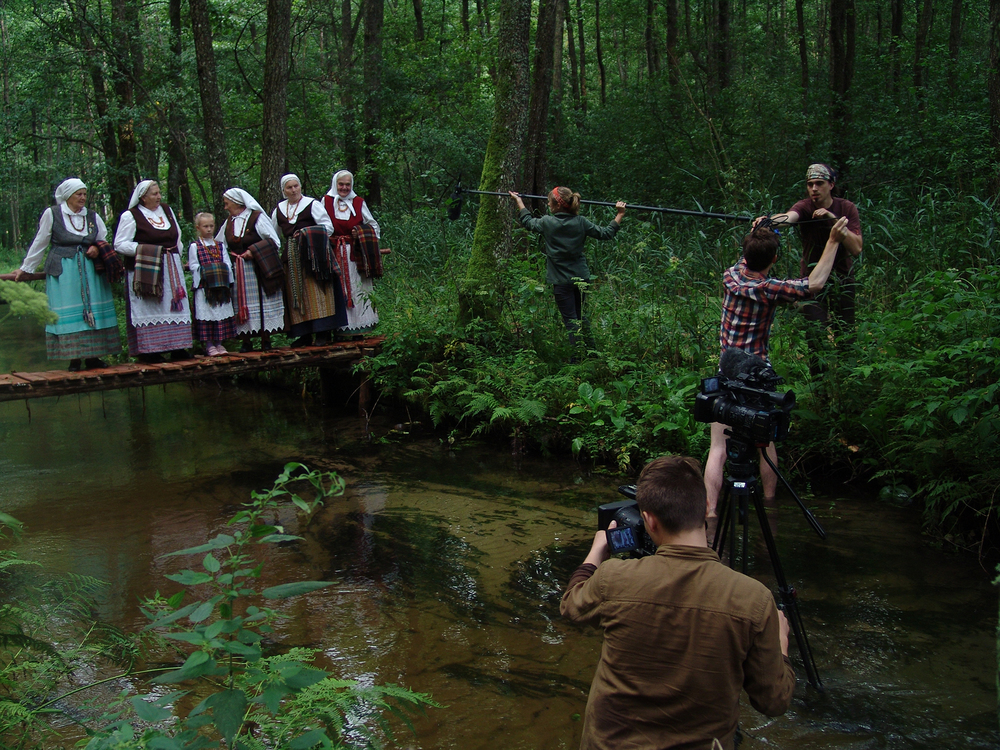 Filming on the Skroblus river in Lithuania.