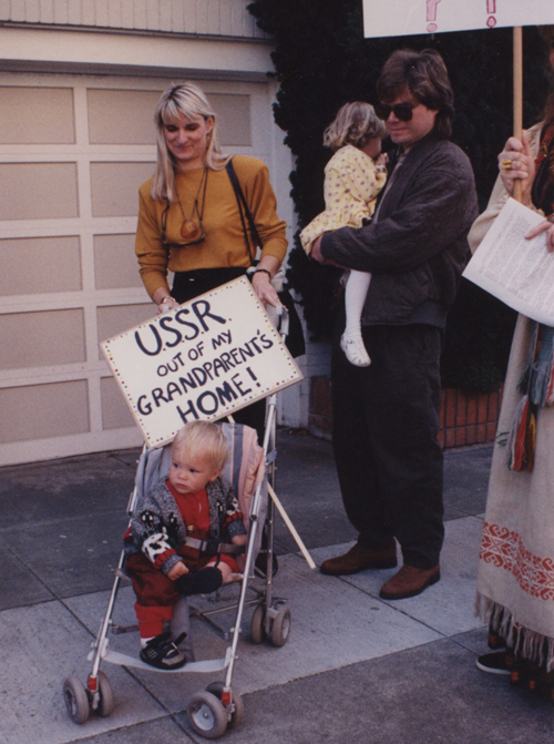 Our brother-sister filmmaking team Aldona and Julian showing solidarity with Lithuania from their strollers in 1990!