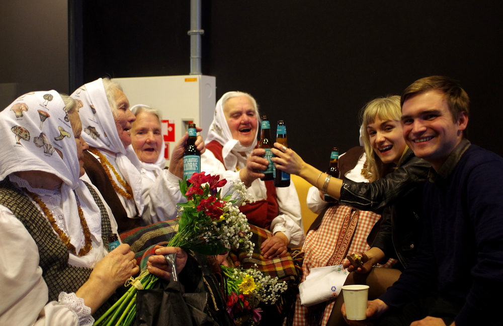 After-party with the grandmothers after Land of Songs'World Premiere at the Vilnius International Film Festival in Vilnius, Lithuania (March 2015).