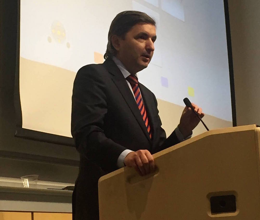 Darius Gaidys, Consulate General of Lithuania in Los Angeles, welcomes the audience at the Stanford screening. The screening was preceded by a reception co-sponsored by Gaidys and the Honorary Consul to Lithuania in San Francisco.