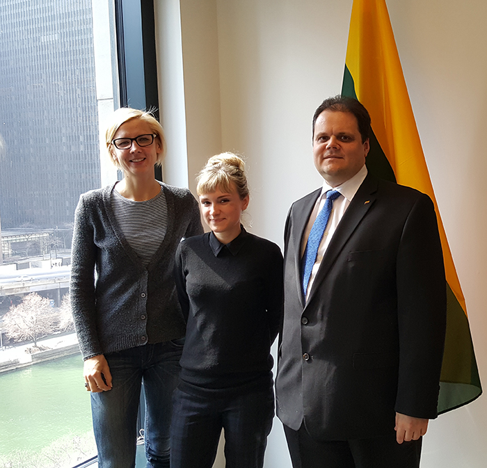 Director Aldona Watts with our Chicago hosts at the Lithuanian Consulate, Consul General Marijus Gudynas and Agnė Vertelkaitė.