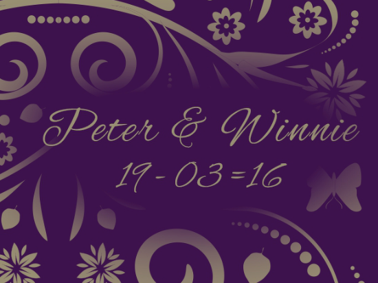Peter & Winnie 19th March 2016