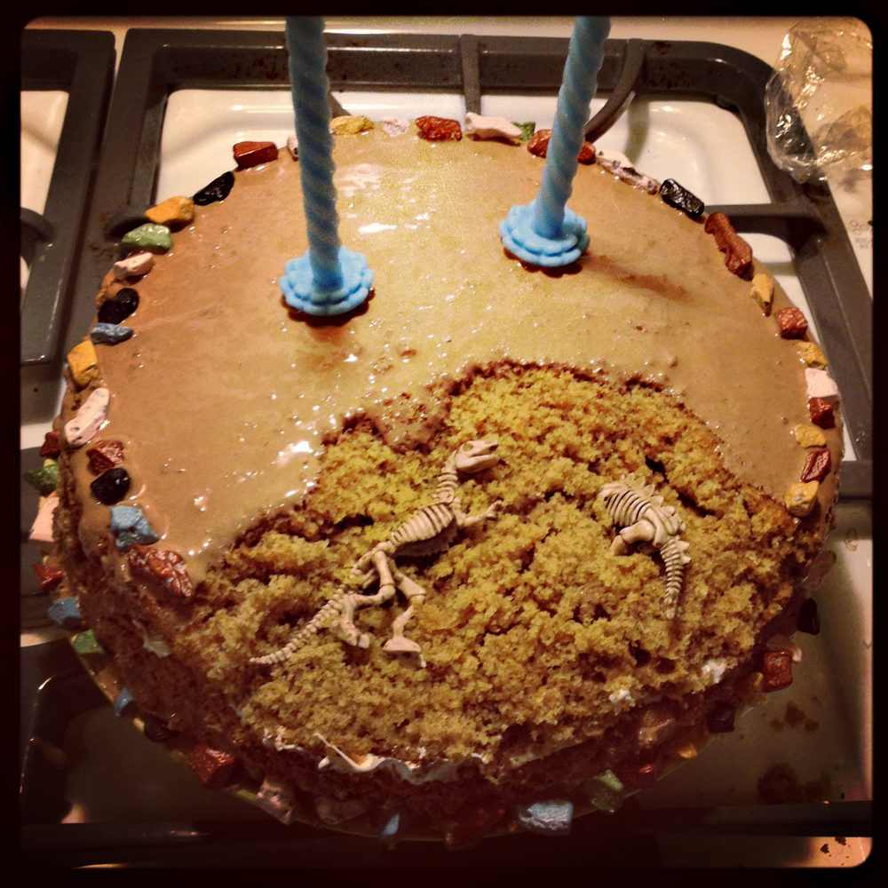 Dinosaur Bones S'mores Cake