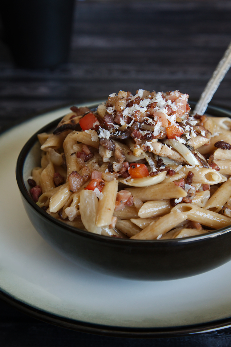 Whole Wheat Penne with Fennel, Caramelized Onions, and Pancetta