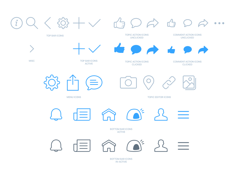 Pixel perfect icon set for FanKave mobile