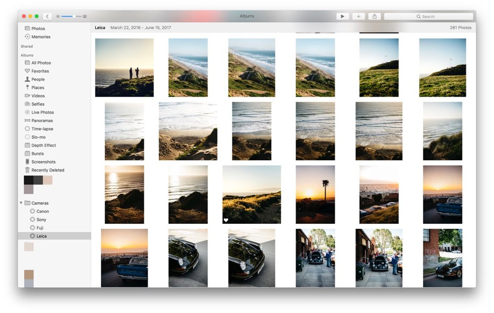 Apple Photos on OS X — Smart Albums for each camera vendor