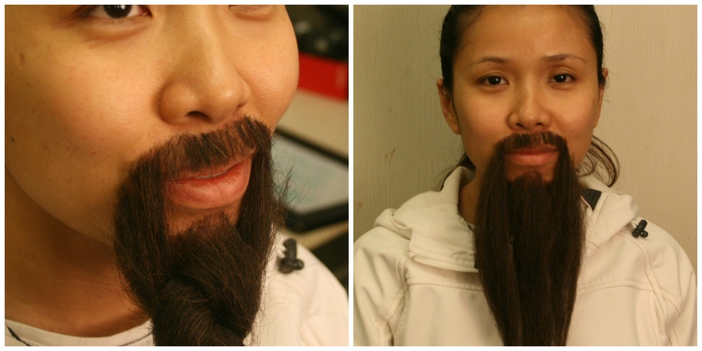 Facial hair application with crepe hair
