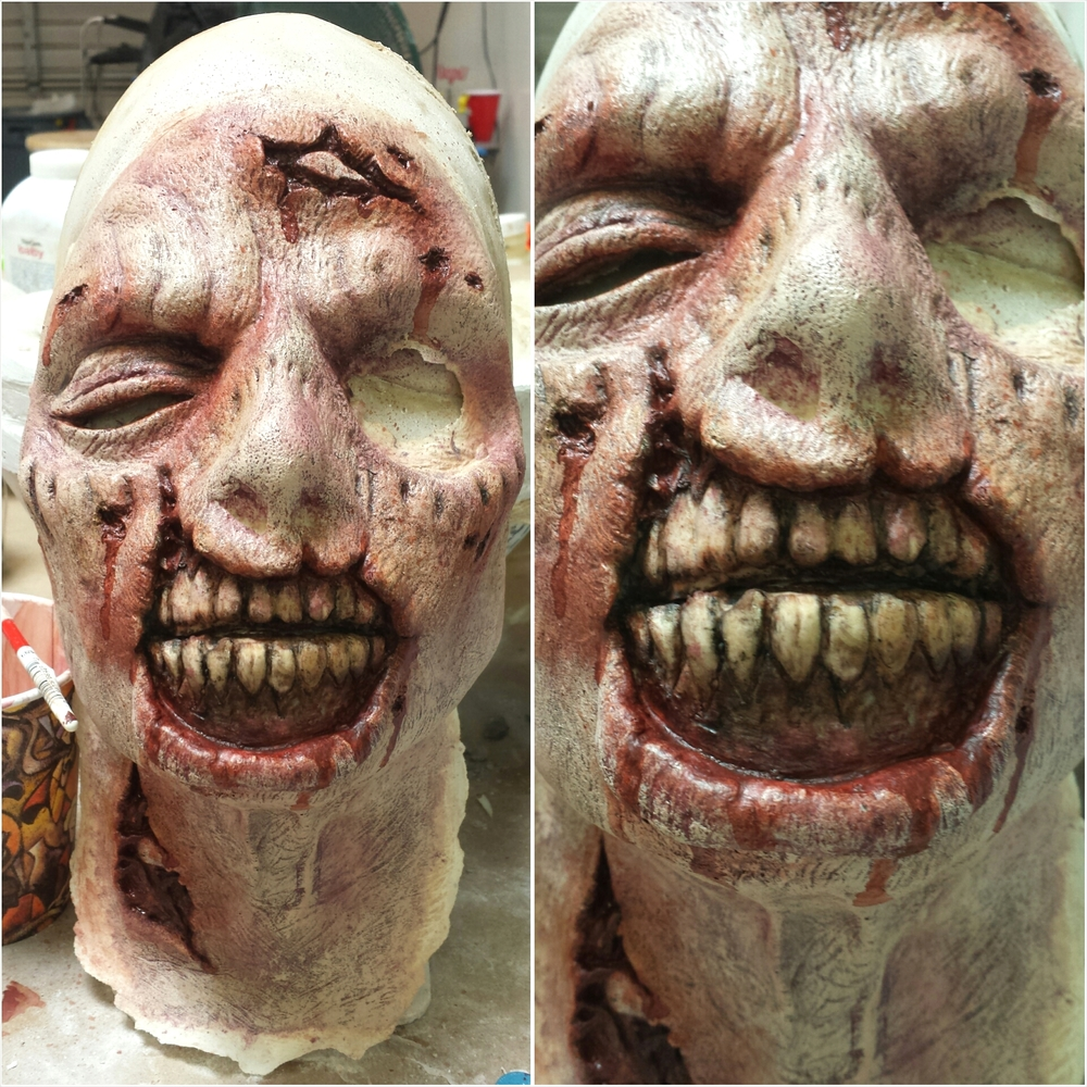 Paint job on the foam latex zombie prosthetic that I made