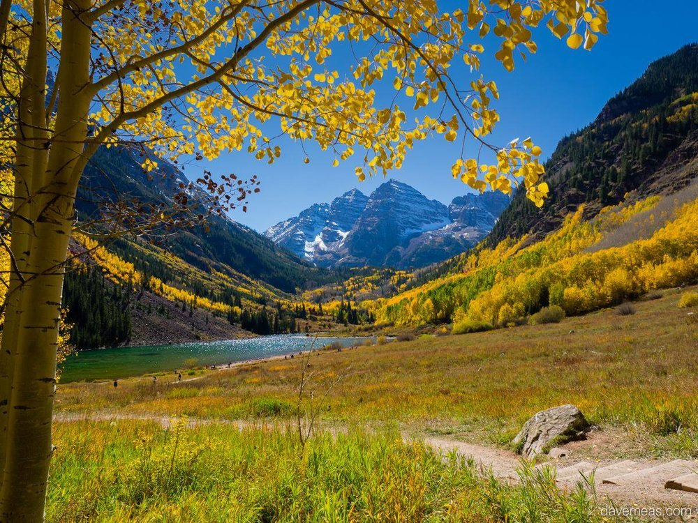 The Maroon Bells in fall.  Shot with Nikon D800, Nikkor 24mm 2.8d