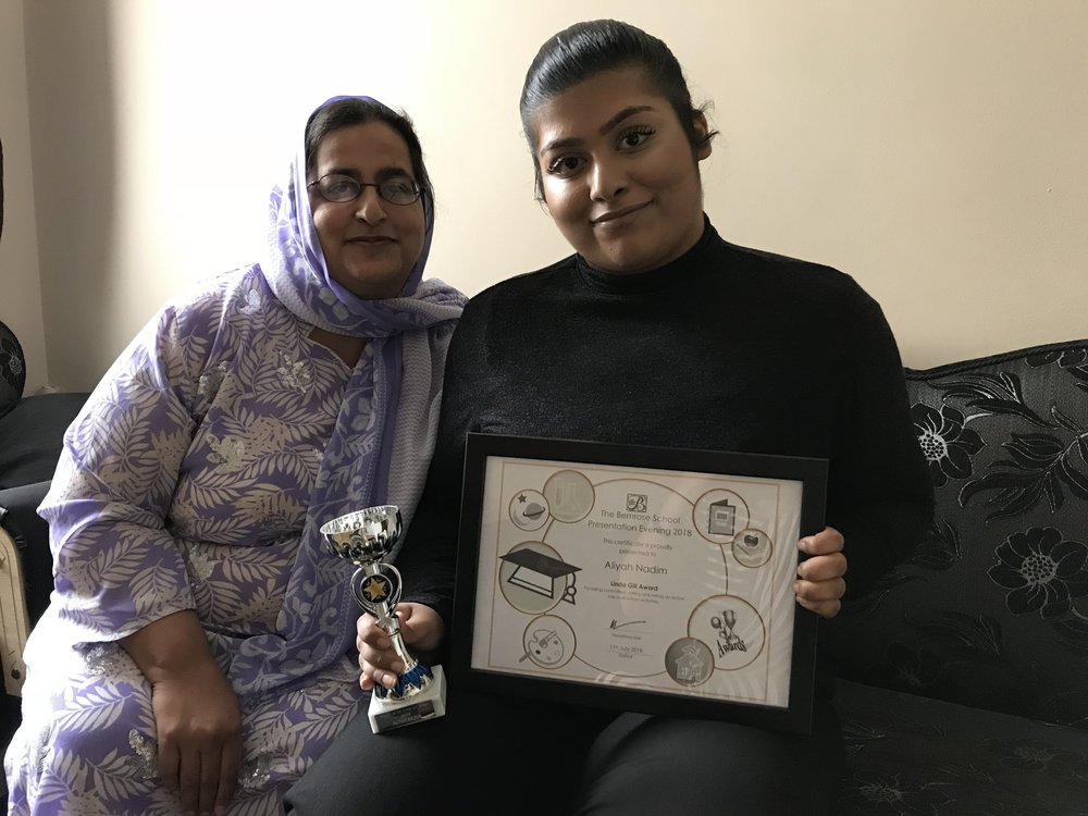 Aliyah and mum Yasmin. Aliyah sat 22 exams whilst undergoing treatment for cancer. Penguin PR: public relations, media and communications in the East Midlands