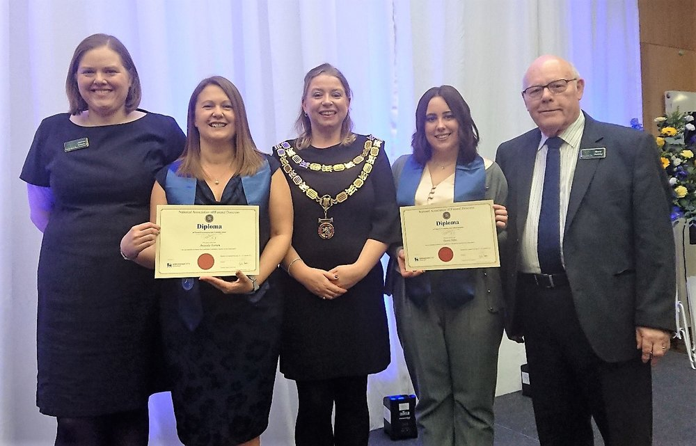 From left, Joanne Hutsby, partner in Gillotts Funeral Directors, Amanda Outram, Abi Pattenden, president of the National Association of Funeral Directors, Danni Allen and Barry Hutsby, partner in Gillotts Funeral Directors. Penguin PR: public relations, media and communications